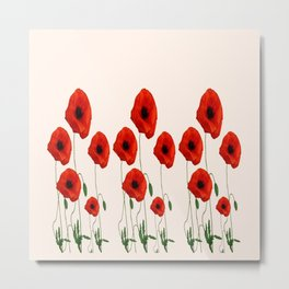 GRAPHIC RED POPPY FLOWERS GARDEN ON WHITE COLOR Metal Print