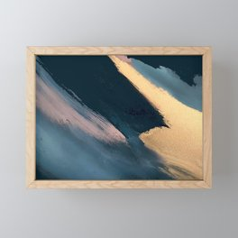 Ignite: colorful abstract in blue pink and gold Framed Mini Art Print