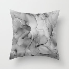 Black and White Marble Ink Abstract Painting Throw Pillow