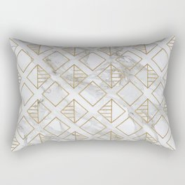 Marble and gold geometric Rectangular Pillow