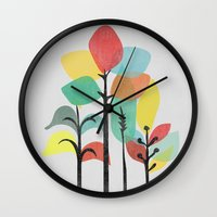 gray Wall Clocks featuring Tropical Groove (gray) by Picomodi