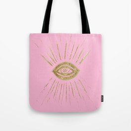 Evil Eye Gold on Pink #1 #drawing #decor #art #society6 Tote Bag