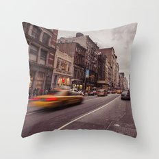 A Yellow Cab In SoHo Throw Pillow