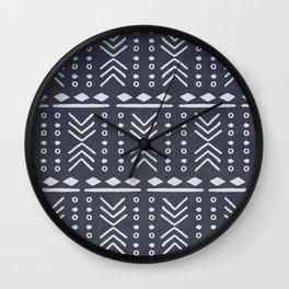 Denim Mudcloth Wall Clock