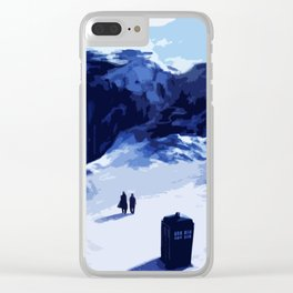 Tardis Art At The Snow Mountain Clear iPhone Case