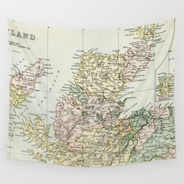 Scotland Vintage Map Wall Tapestry