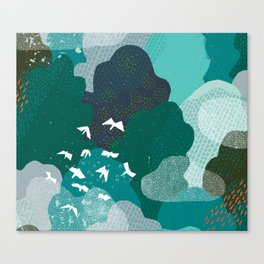 M+M Emerald Forest Bird's Eye View by Friztin Canvas Print