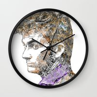 david tennant Wall Clocks featuring David Tennant Dr. Who Text portrait by Mike Clements