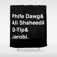 ali gulec Shower Curtains featuring Phife Dawg & Ali Shaheed & Q-Tip & Jarobi. by GOGILAND