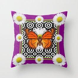 Purple Monarch Butterfly Shasta Daises Decor Art Throw Pillow