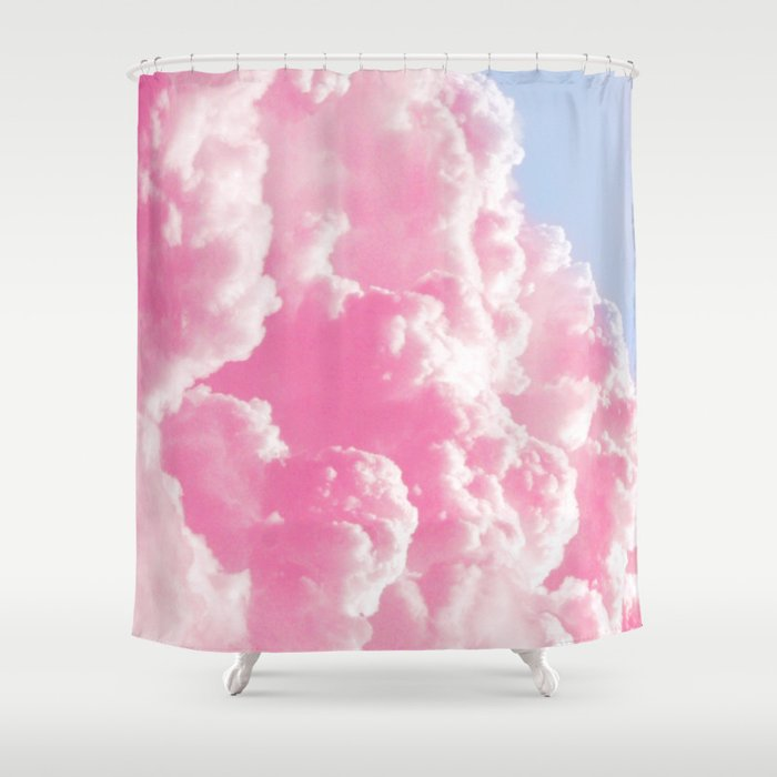 Retro Cotton Candy Clouds Shower Curtain