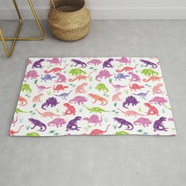 Watercolor Dinosaur Silhouette Pattern Purple Pink Green Rug