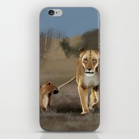 lions iPhone & iPod Skins featuring Lions by Elena Napoli