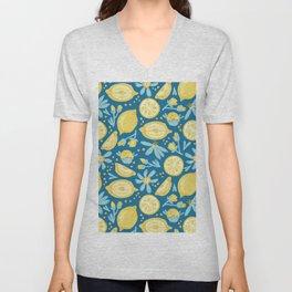 Lemon Pattern Blue Unisex V-Neck