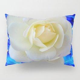 DECORATIVE WHITE & BLUE ROSES GARDEN ART Pillow Sham