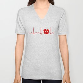 POKER HEARTBEAT Unisex V-Neck
