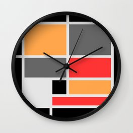 Mondrianista orange red black and gray  Wall Clock