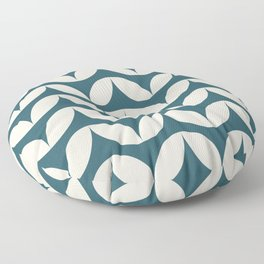 Geometric Leaf Shapes in Teal and Blush Floor Pillow