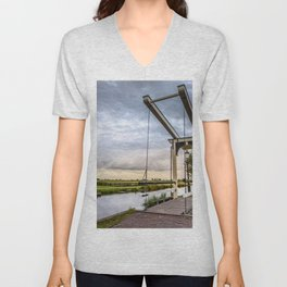 Canal and Bridge in Netherlands at Sunset Unisex V-Neck
