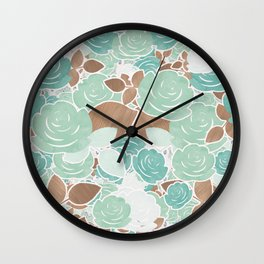 Aqua Mint & Gold Roses Floral Watercolor Pattern Wall Clock