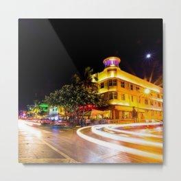 Art Deco Cardozo Hotel South Beach, Miami Night Scene Portrait by Jeanpaul Ferro Metal Print