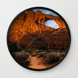 Path To Skyline Arch At Sunset - Moab, Utah Wall Clock