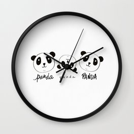 Panda Panda Watercolor Wall Clock