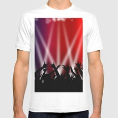 Dancing Crowd With Multi Colour and White Spotlights Mens Fitted Tee White MEDIUM