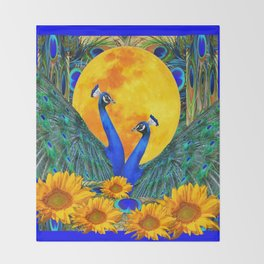 BLUE PEACOCKS MOON & FLOWERS FANTASY ART Throw Blanket