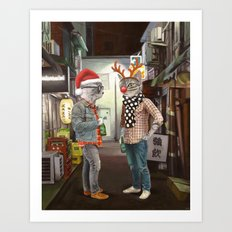 A Cats Night Out Christmas edition Art Print
