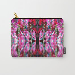 FUCHSIA PINK HOLLYHOCKS IN BLUE WATER REFLECTION Carry-All Pouch