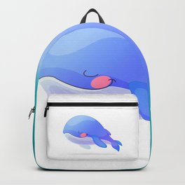 Cute whale. Vector graphic character Backpack