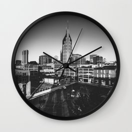 Nashville Downtown in Black and white Wall Clock