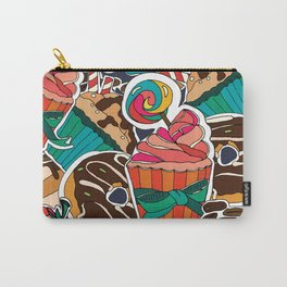 Pattern. Desserts, muffins, cupcakes, candies, cheesecake, chocolate, coffee. Carry-All Pouch