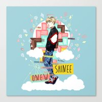 shinee Canvas Prints featuring SHINEE Onew by Haneul Home