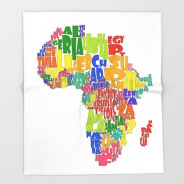 African Continent Cloud Map Throw Blanket