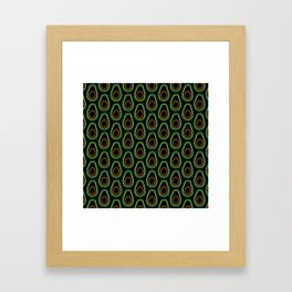 Avocado Pattern (black) Framed Art Print