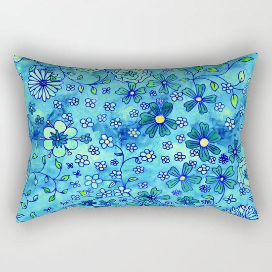 Greenish Yellow Small Flowers Rectangular Pillow