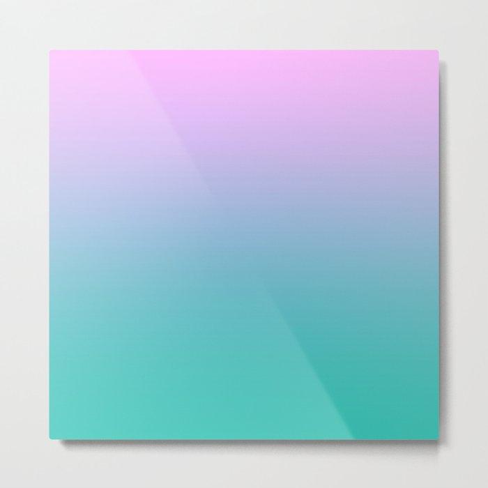 Pink Teal Ombre Gradient Summer Pattern Metal Print