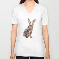 mod V-neck T-shirts featuring the mod chihuahua by bri.buckley