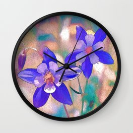 Colorado Columbine Flower Wall Clock