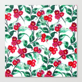 SPUNKY RED BLOOMS IN WATERCOLOR Canvas Print