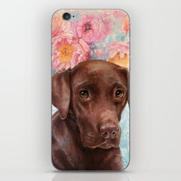 Flowers and Chocolate (chocolate lab dog watercolor portrait painting) iPhone Skin
