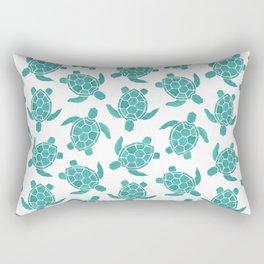 Save The Turtles in Teal Rectangular Pillow
