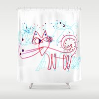 kittens Shower Curtains featuring SNOW KITTENS by Vanja Cankovic