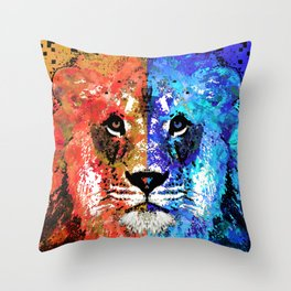 Lion Art - Majesty - Sharon Cummings Throw Pillow