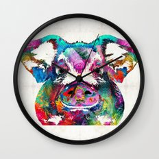 Colorful Pig Art - Squeal Appeal - By Sharon Cummings Wall Clock
