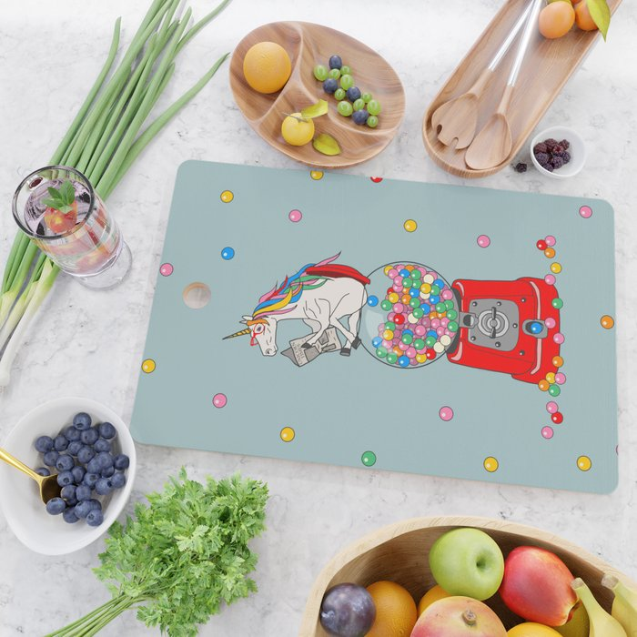Unicorn Gumball Poop Cutting Board