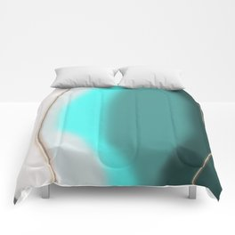 Cyan Abstract Comforters