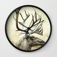 reindeer Wall Clocks featuring Reindeer by ZenzPhotography